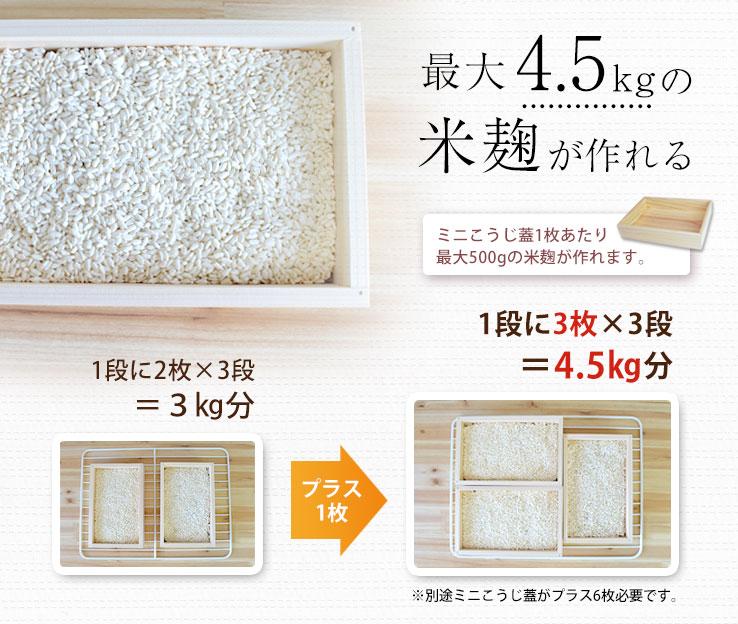 米麹が最大4.5�作れる