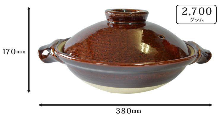 やまほん陶房土鍋九寸(飴釉) のサイズ