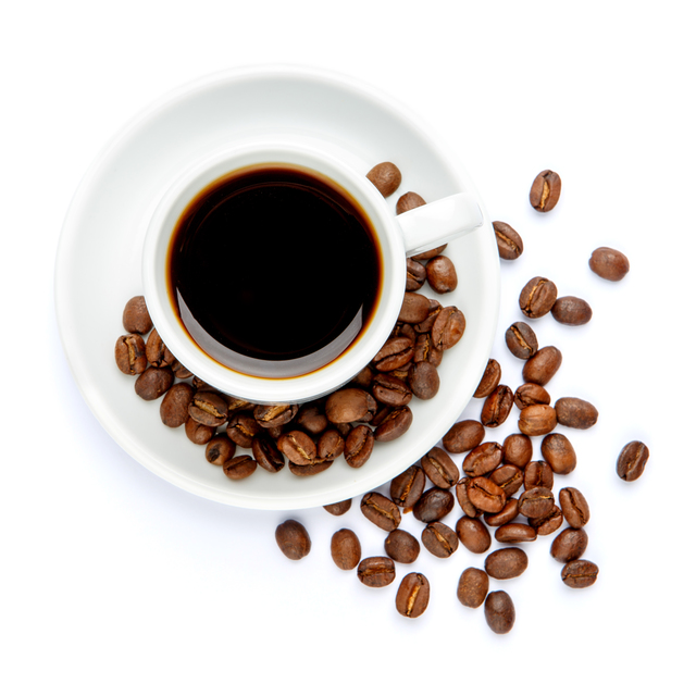 studio shot of cup of coffee on white background