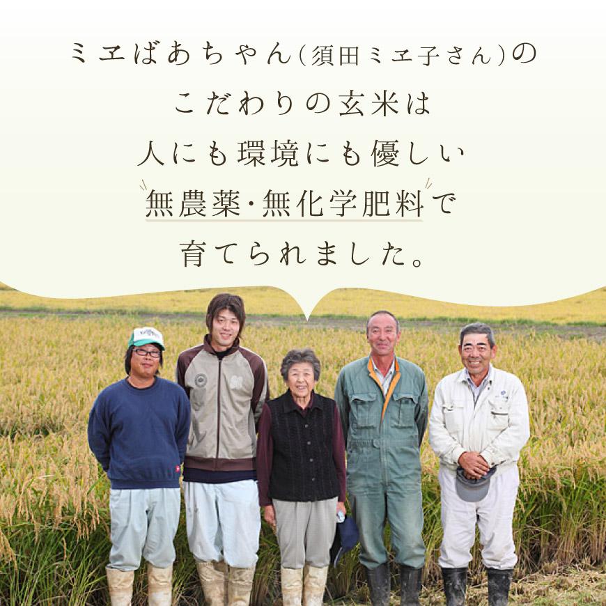 ミエばあちゃんのこだわりの玄米は、人にも環境にも優しい無農薬・無化学肥料で育てられました。
