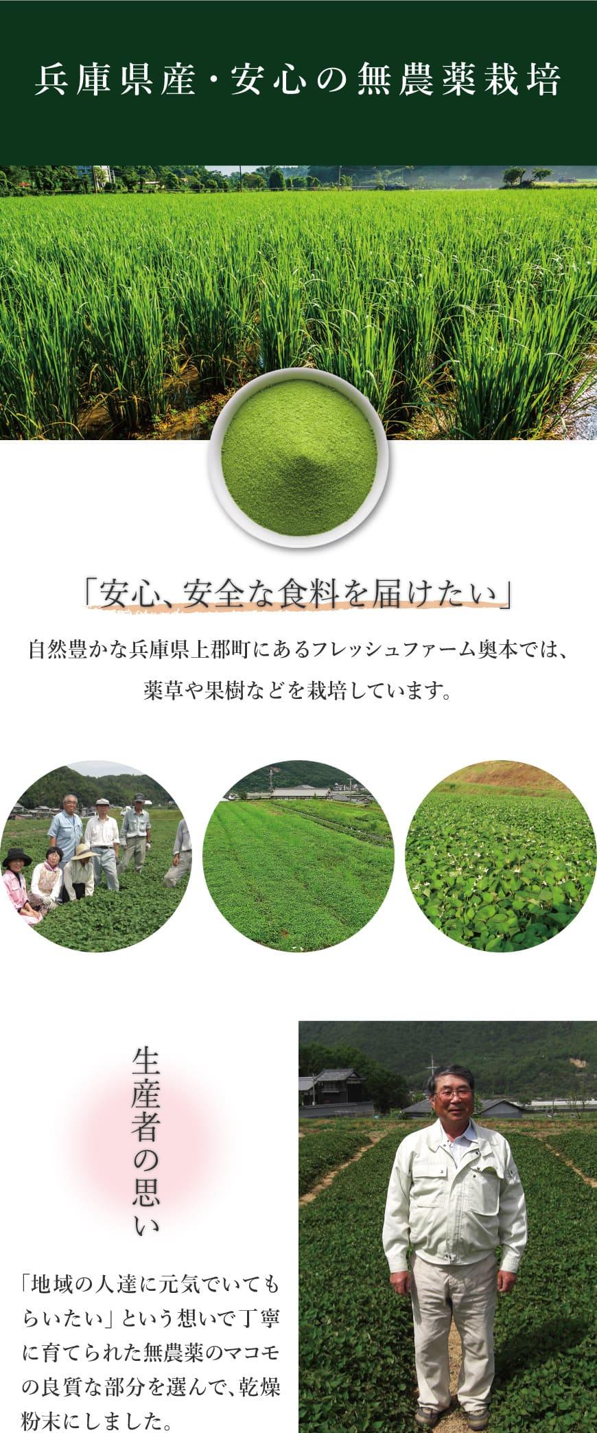 兵庫県産・安心の無農薬栽培