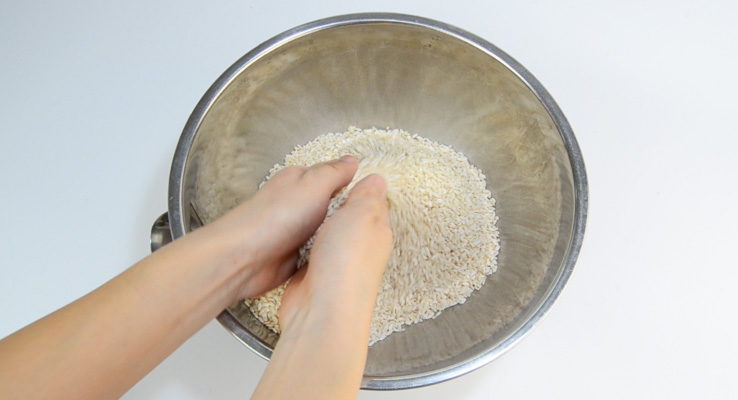 Use your hands to separate the grains