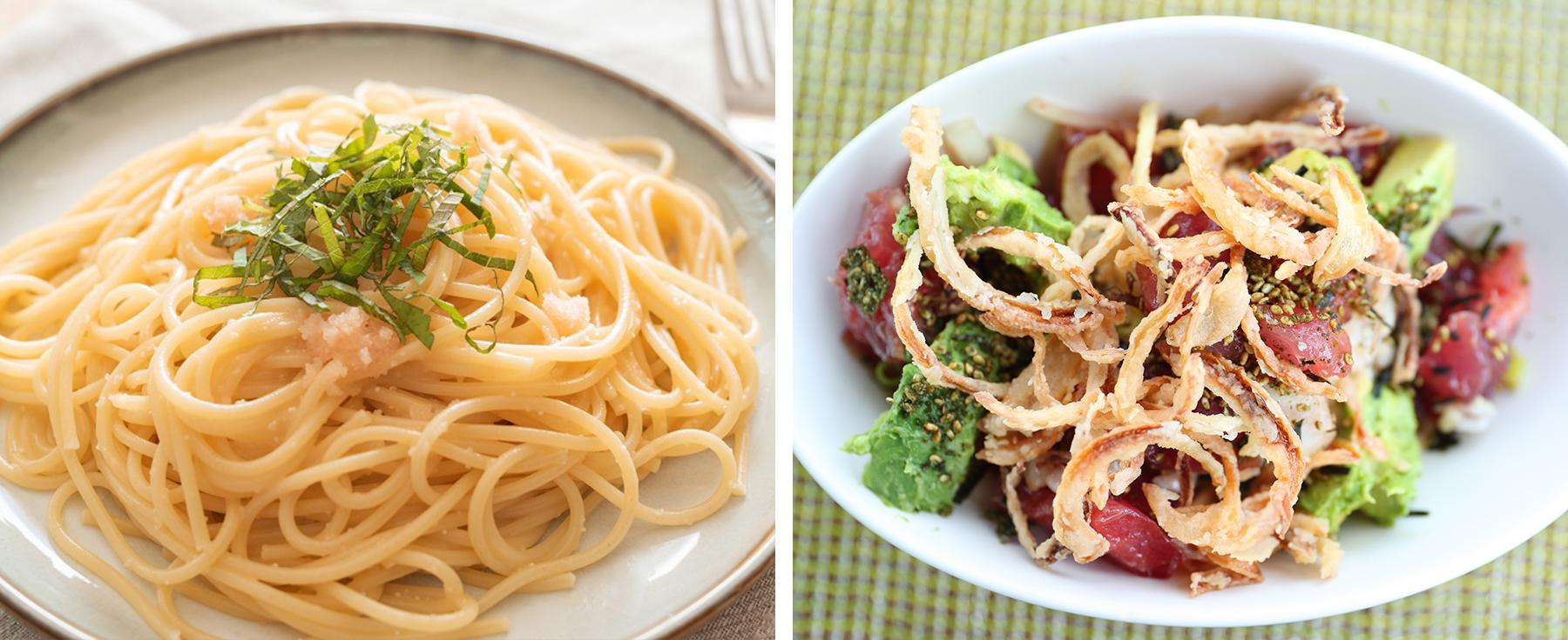 furikake in pasta and poke bowl