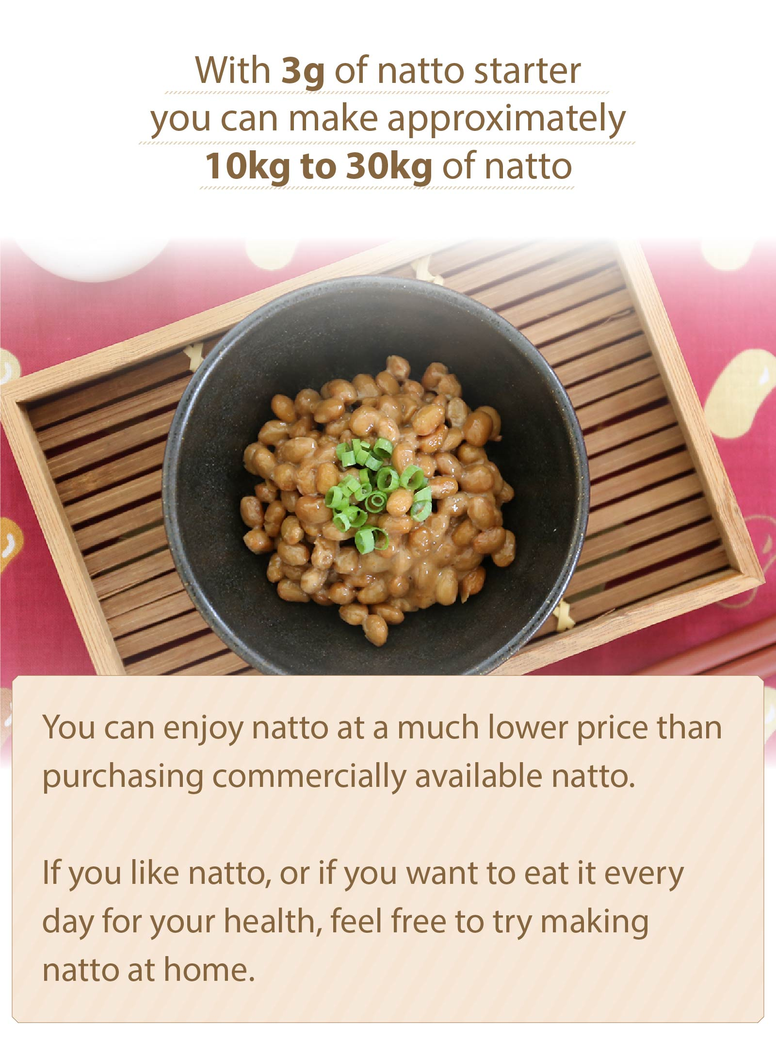 3g Natto Can Make Up to 10kg to 30kg of Natto