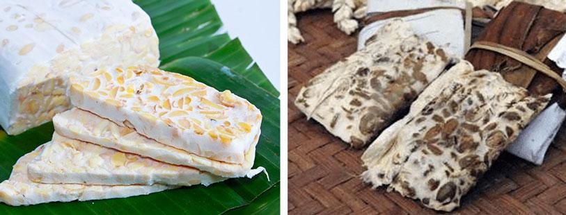 plastic and banana leaves tempeh