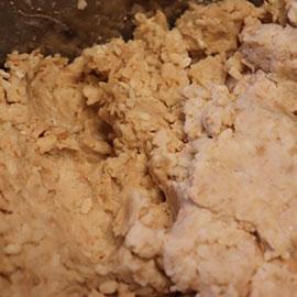 Mixing the koji and salt