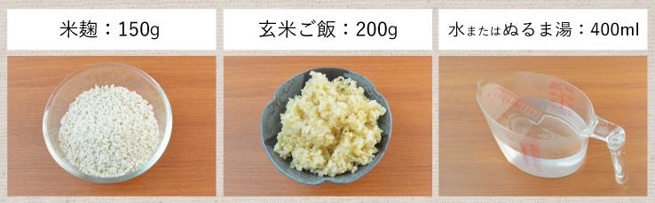 玄米甘酒 材料